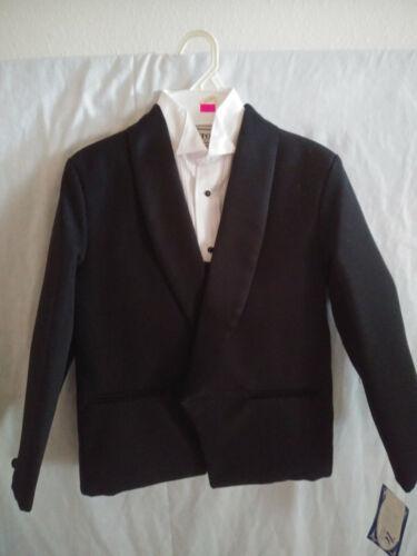 New Boys 4 piece Black Tuxedo Suit Size 6