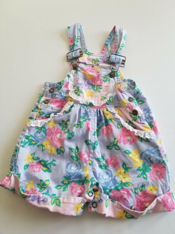 VTG 90s HUSH PUPPIES 2T  Floral Shortalls Overalls