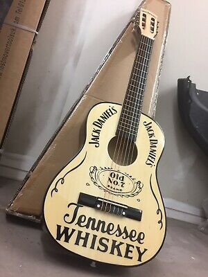 VINTAGE STYLE JACK DANIELS ACOUSTIC GUITAR ADVERTISING SIGN, WORLDWIDE DELIVERY