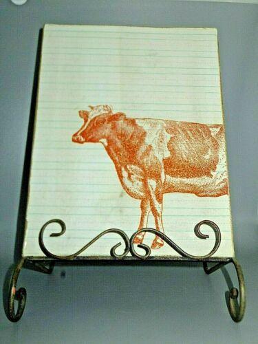 Vintage Metal & Wood Cookbook Display Stand Cow