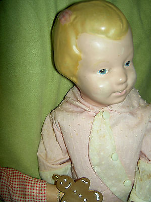 Early 1917-21 carved hair, pink bow SCHOENHUT wood doll, Kindergarten #101 model