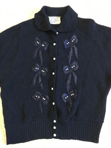 Vtg 50s Womens Wool Cardigan Black Satin Applique Bows Pearls Retro Rockabilly M