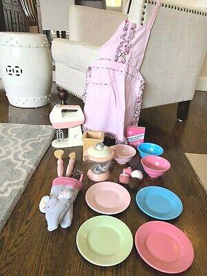 Pottery Barn Kids PBK Vintage Retro Pink Kitchen Dishes Bowls Mixer Apron More!