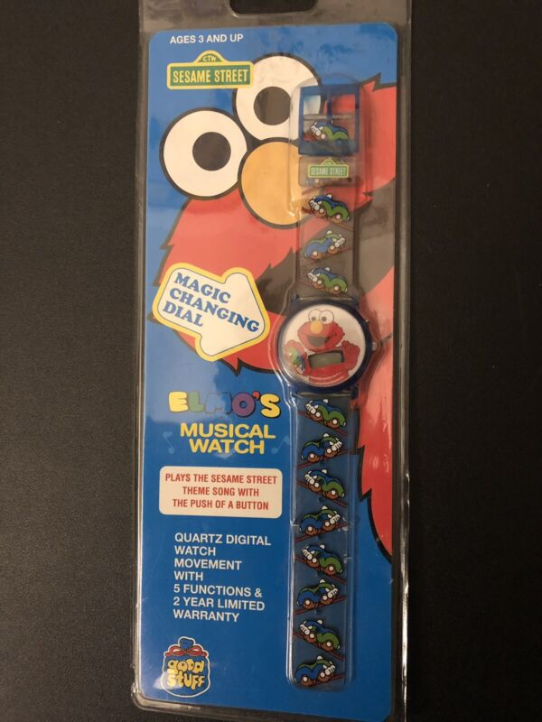 """Vintage Sesame Street ELMO'S Musical Watch """"Magic Changing Dial"""" New Sealed"""
