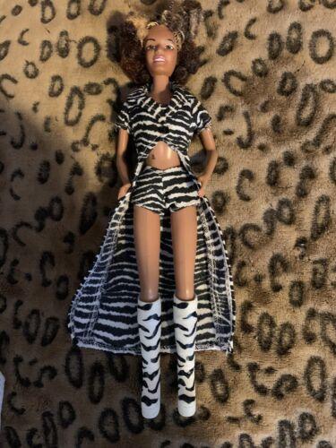 Spice Girls Doll On Tour Scary Spice Melanie B Zebra Striped Tall Platform Boots - $10.99