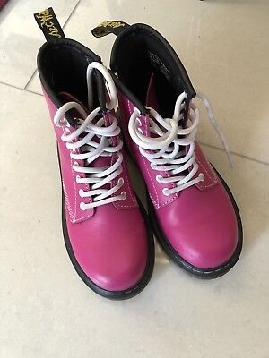 Girls Hot PINK DOC MARTINS Leather BOOTS (uk12) Great Condition](Doc Martins Girls)