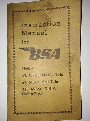 1950 A7 BSA motorbike Manual Models A7 500cc OHV A7 Star twin A10 650cc