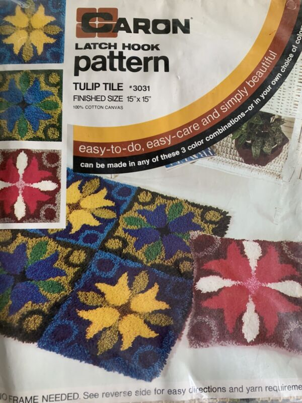 Tulip Tile Vintage Latch Hook Canvas and Pattern Set of 4 Sealed 15x15 ea
