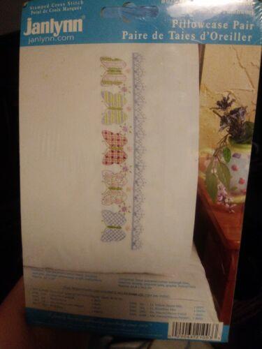 Janlynn Cross Stitch Kit 2 Pillowcases Patchwork Butterfly