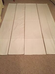 Curtains-Four Panels White Fine Linen/Flax type fabric
