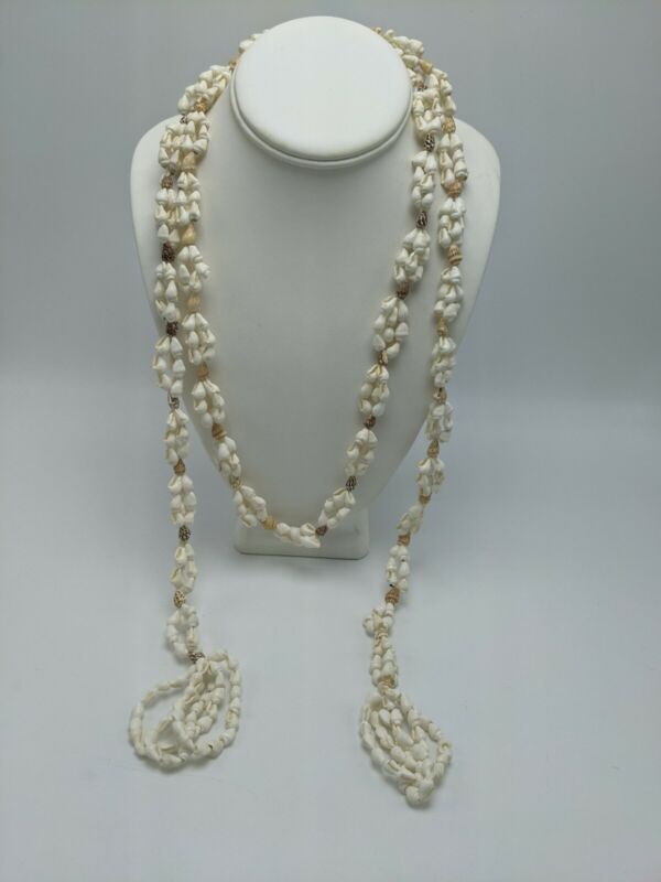 Hawaiian Shell Lariat Wrap Necklace or Belt White & Brown