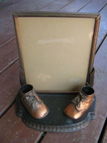 Vintage Old BrassTone Metal Baby Shoes Picture Frame nursery decor