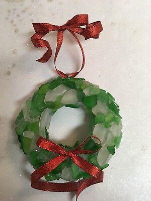 GENUINE SEA GLASS WREATH CHRISTMAS ORNAMENT BEACH NAUTICAL DECOR ART BEACH GLASS](Beach Christmas Decorations)