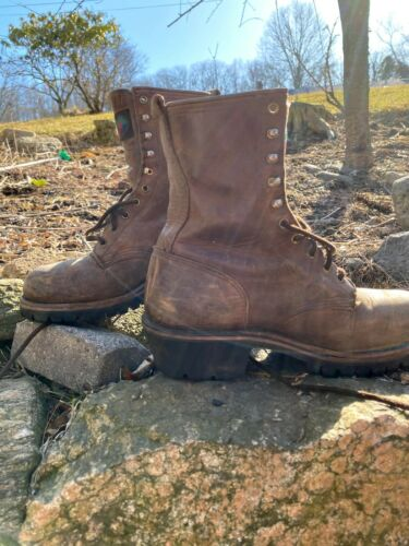 Brown Leather Logger Style Boots with Thinsulate Estimated Men