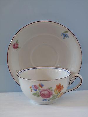 Felda Rhön alte Tasse mit Untertasse Streublumen Shabby Kaffeetasse bunte Blumen