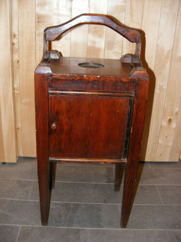 Vintage Wood Smoking Ashtray Stand Pipe Tobacco Humidor Cabinet