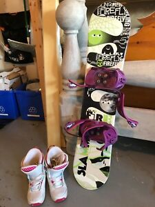 Jr snowboard and boots