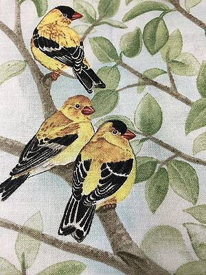 "Fabric Bird Quilt Square 4 3/4"" x 6"" Cotton 3 Yellow-Black Birds Elizabeth Qty 1"