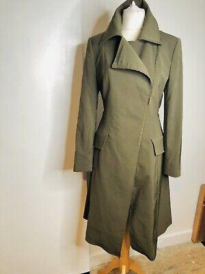Vintage Arayal Green Kha Trench Rain Zip Coat Made In France Size UK10 /EU 42