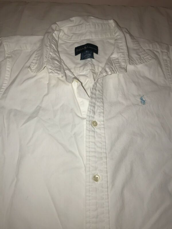Ralph Lauren Boys Classic Oxford White Short Sleeve Button-down Shirt Sz 7