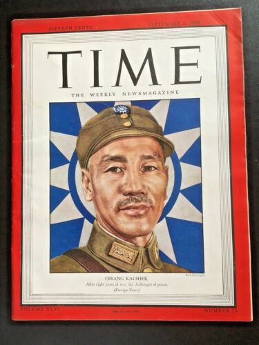 👍 SEPT 1945 VINTAGE TIME MAGAZINE ON CHINA CHIANG KAI SHEK AFTER 8 YEARS OF WAR