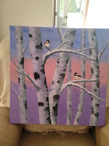 Winter BIRD Scene 24 X 24 Oil Painting On Canvas.  - $25.00