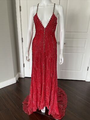 ALESSANDRA RICH Red Beaded Crystal Maxi Ball Gown Dress Super Rare 40 (6)