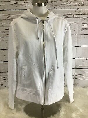Mens Versace Collection Logo Patch Distressed Zip Up Hoodie White Large