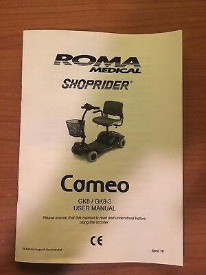 Shoprider Cameo Mobility Scooter Owner's Manual Instructions Guide