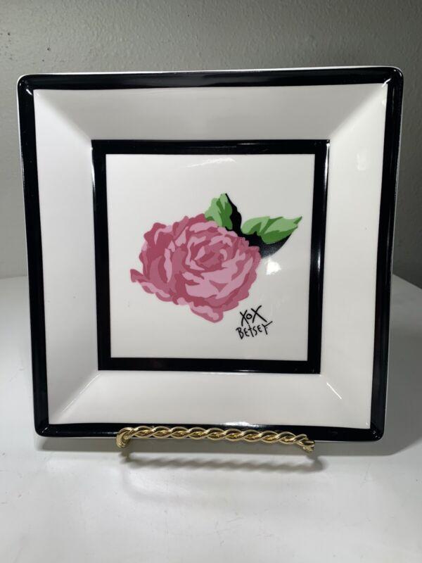 "Betsey Johnson Square Trinket Dish Plate Pink Rose Black Rim 7"""