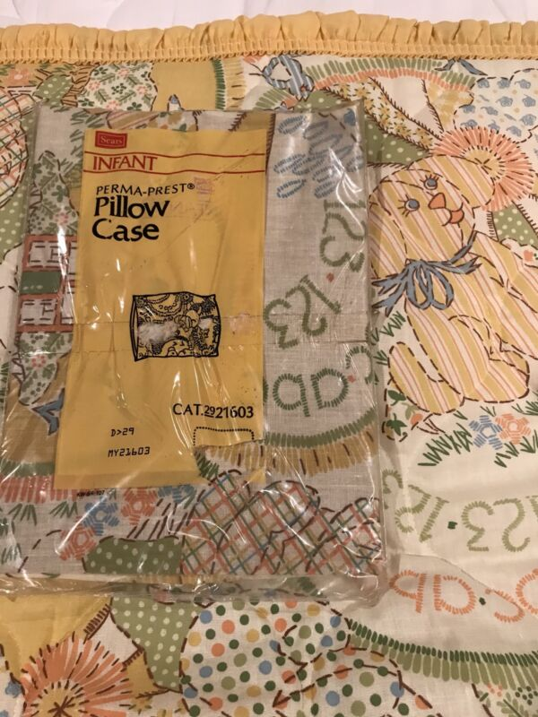 Vintage Sears Roebuck Baby Quilt Blanket Cover Infant Pillow Case