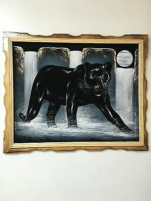 BLACK PANTHER , FULL MOON , WATERFALL ,  VELVET PAINTING,18