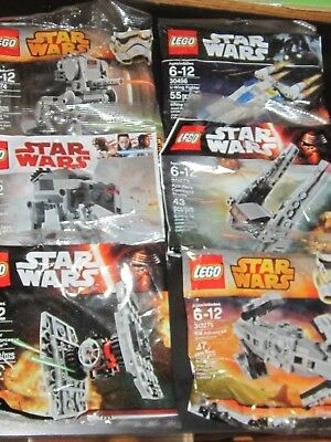 6 Lego Star Wars 30274 At Dp 30279 Kylo 30496 Wing 30276 Tie 30497 Walker 30275