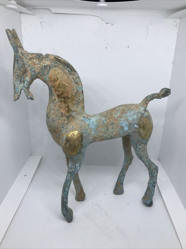 SCARCE ANCIENT CELTIC BRONZE AND GOLD GILT HORSE STATUETTE SUPERB