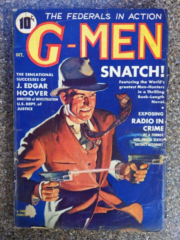 G-Men #1 Oct 1935 Detective Vintage Pulp - J Edgar Hoover