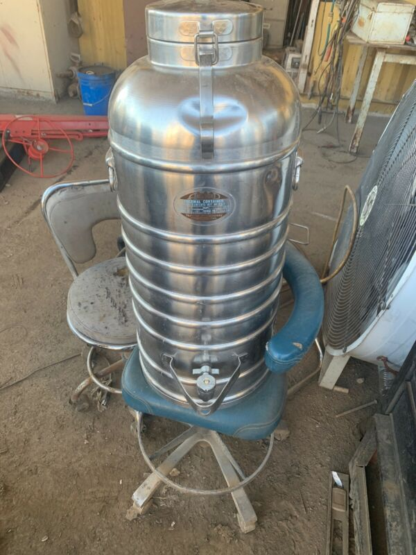Vintage Metal AerVoid Thermal Liquid Carrier 10 Gal Jug Stainless  Insulated