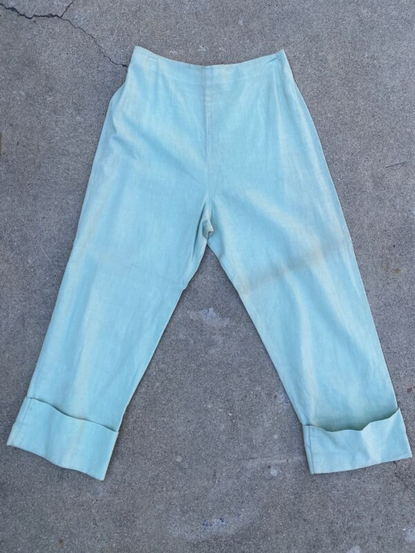 Vintage 1940s Seafoam Green Linen Pants High Waisted Cuffed Zip Back Separates