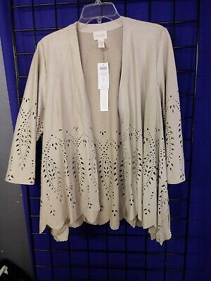 Chicos Size 1 Womens Drape Jacket Faux Suede Cutwork 3/4 Leather