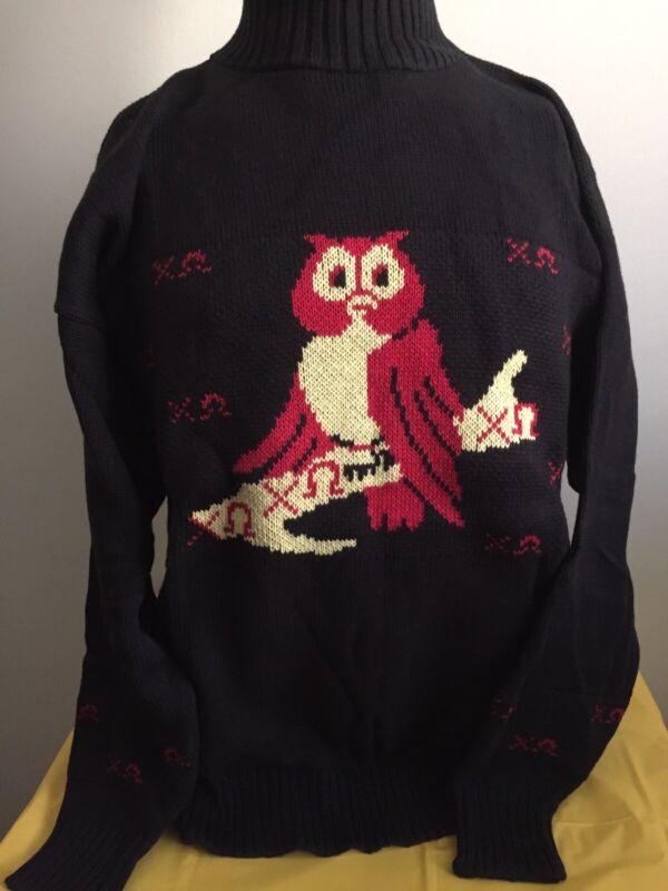 Chi Omega Sorority Sweater Size Medium 100% Cotton Made In USA! Black