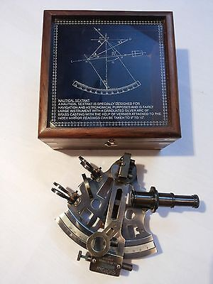 """NAUTICAL BRASS SEXTANT GERMAN MARINE SEXTANT 4"""" WITH WOODEN BOX ANTIQUE"""