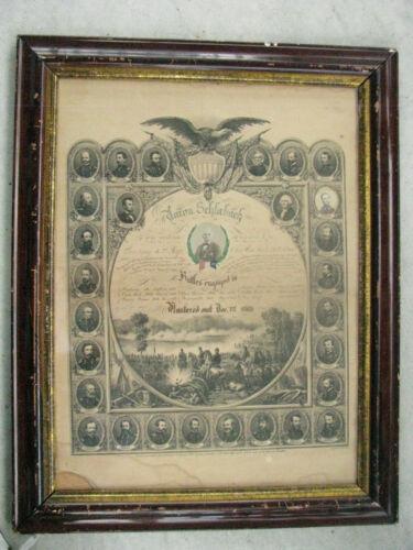 KANSAS VOLUNTEER CIVIL WAR 1864 FRAMED COLOR MEMORIAL WITH PHOTO