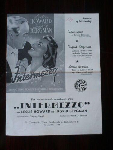 "Danish Press Release. ""Intermezzo"" Leslie Howard.Ingrid Bergman. 1939"