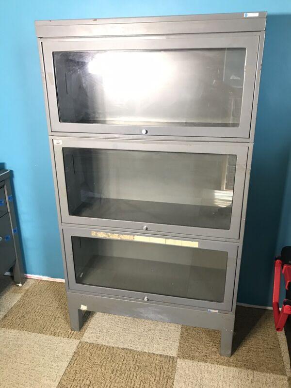 Vintage Steel Barrister Bookcase - Retractable Glass Doors - NASA Apollo Prog