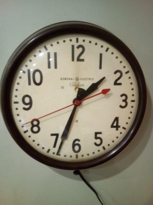 Vintage General Electric Telechron School Wall Clock Model1H1612 NiceWorks 1950s