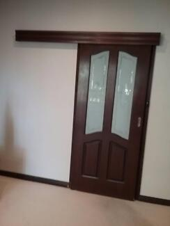 Corinthian sliding door with etched glass panels 870mm x 2040mm