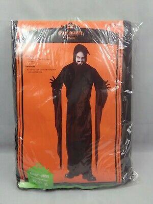 Hooded Grim Reaper Costume Adult Scary Ghost Halloween Fancy Dress XL 42-46