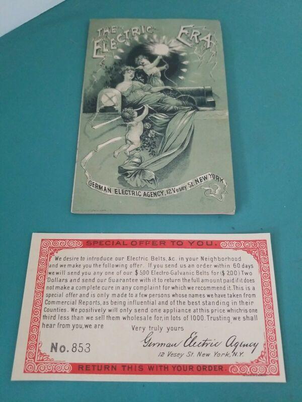 ANTIQUE 1880s MEDICAL QUACKERY MALE ENHANCEMENT IMPOTENCY BROCHURE EPHEMERA NYC
