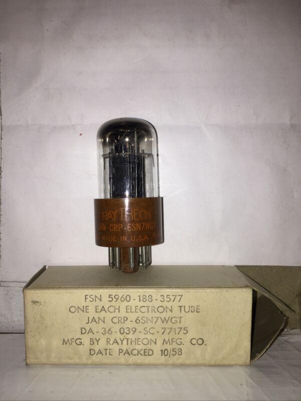 Raytheon JAN-CRP 6SN7WGT Brown Base  [1940 Vintage] Never Used