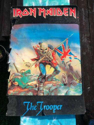 VINTAGE Iron Maiden The Trooper Felt Black Light Poster 1984 Heavy Metal