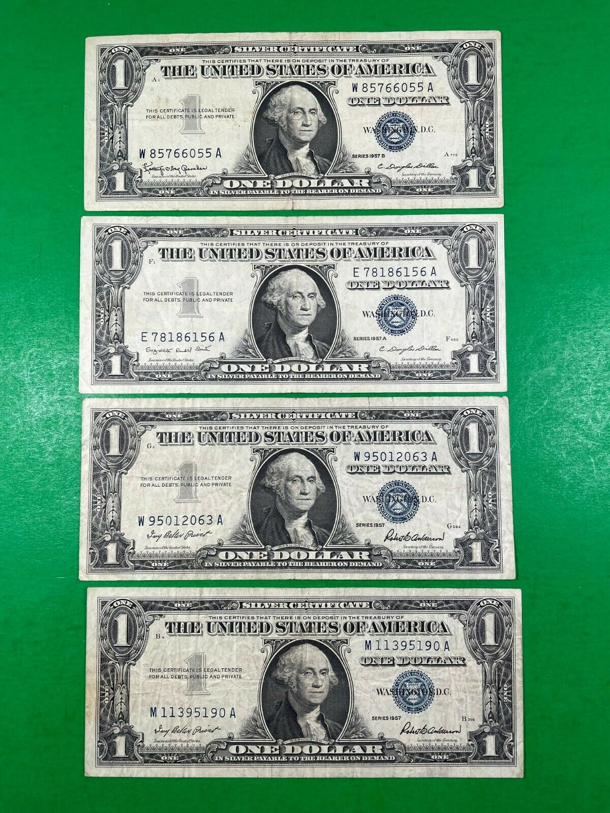 1 Silver Certificates Blue Seal - Lot Of 4 Series1957  - $10.00